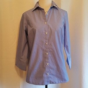Land's End fitted blue polka button up blouse